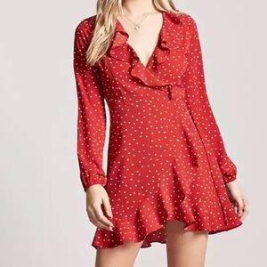 Forever 21 Polka Dot Wrap-Around Dress